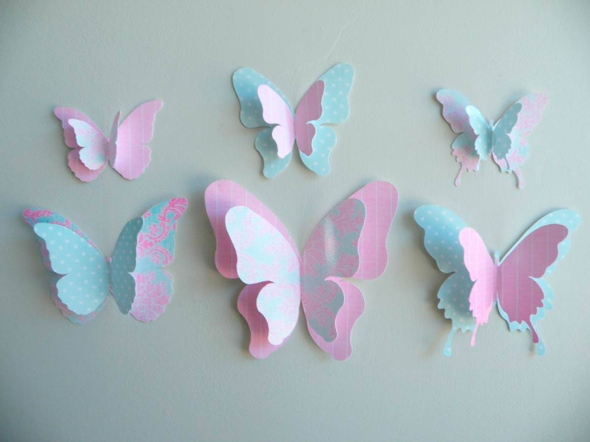 Декор стен бабочками своими руками: трафареты, материалы, крепление
