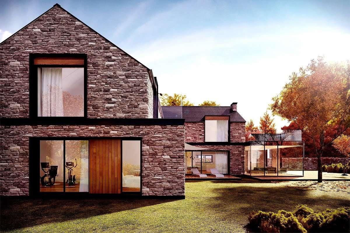 Дом из камня: 85 фото методов строительства из комбинированных материалов