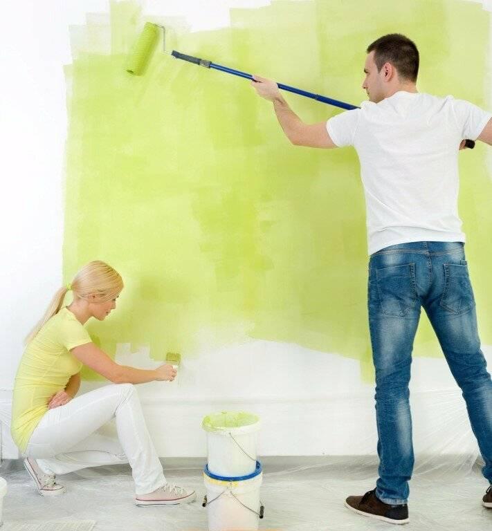 Покраска стен водоэмульсионной краской по старой водоэмульсионной краске
