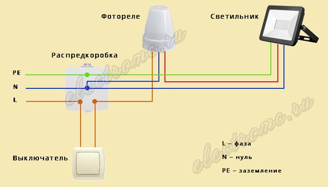 Подключение фотореле для уличного освещения: видео, схема, инструкция