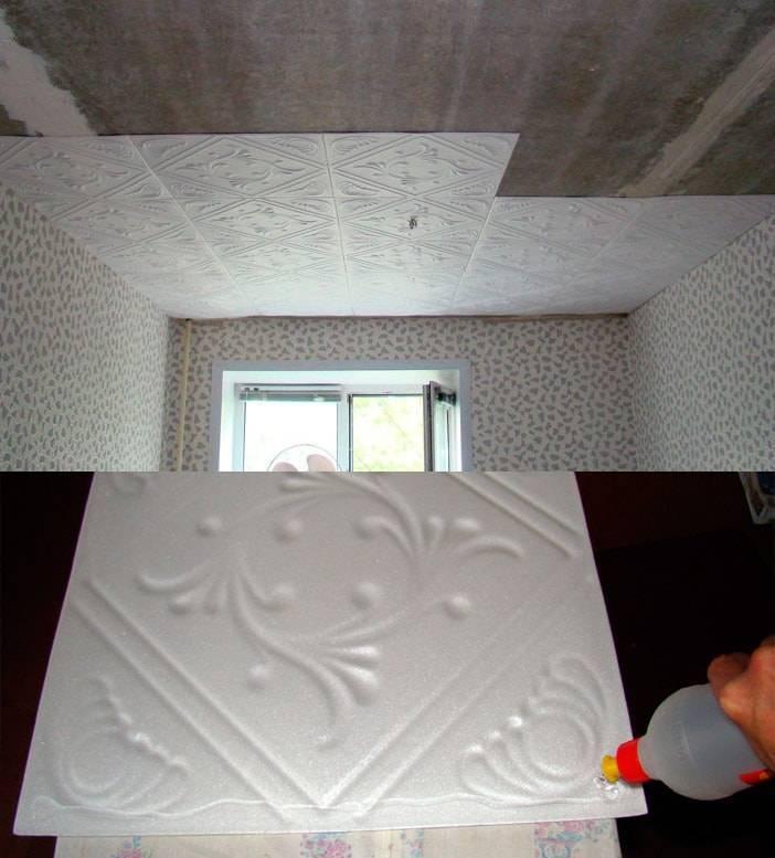 Как клеить потолочную плитку из пенопласта? (7 фото)