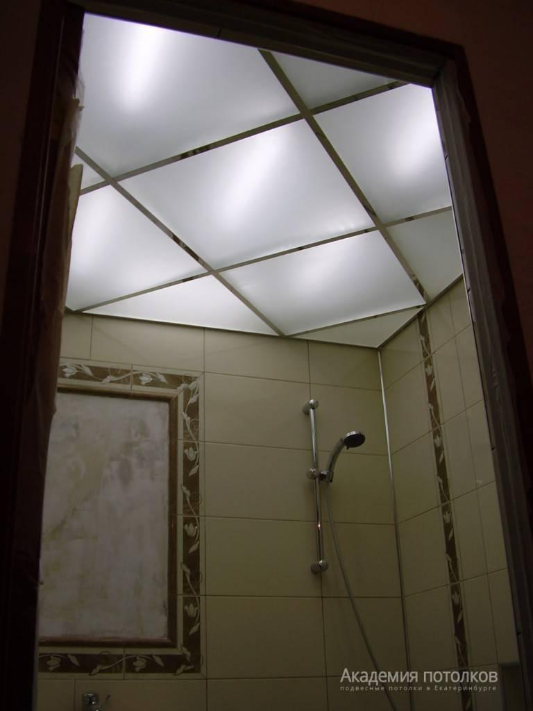 Подвесной потолок из стекла с подсветкой