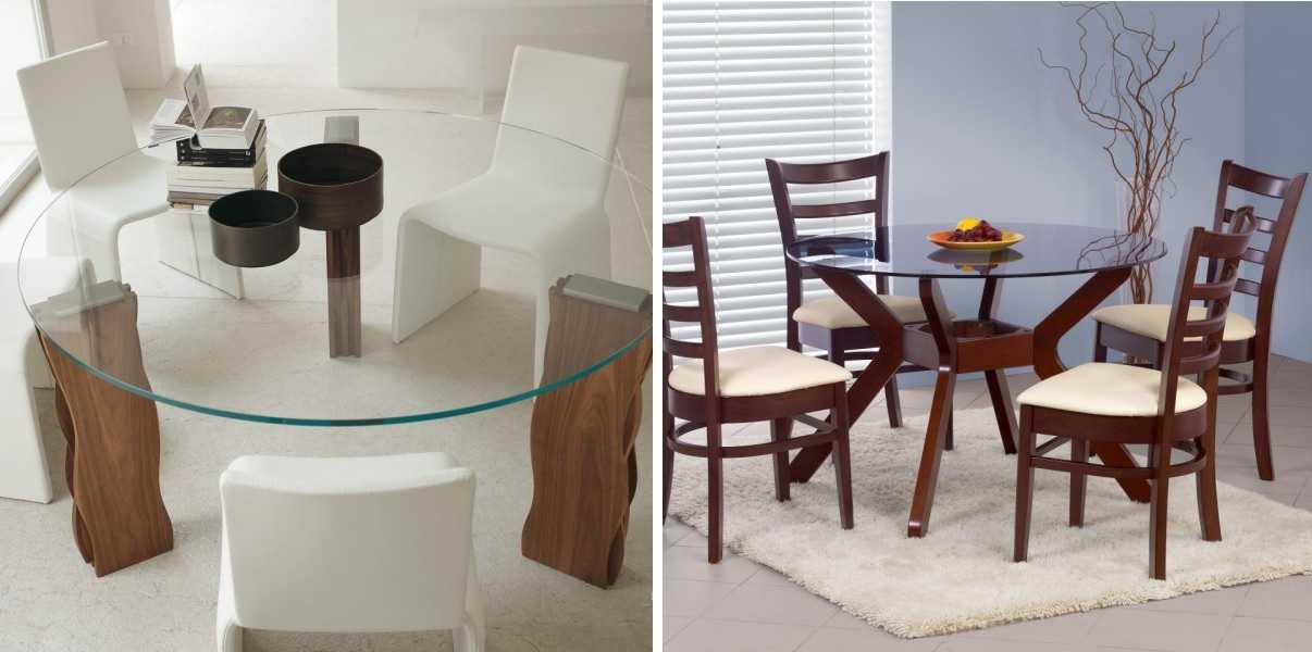 Стеклянные столы для кухни: 66 фото, идеи овальных, круглых форм, с фотопечатью и др.