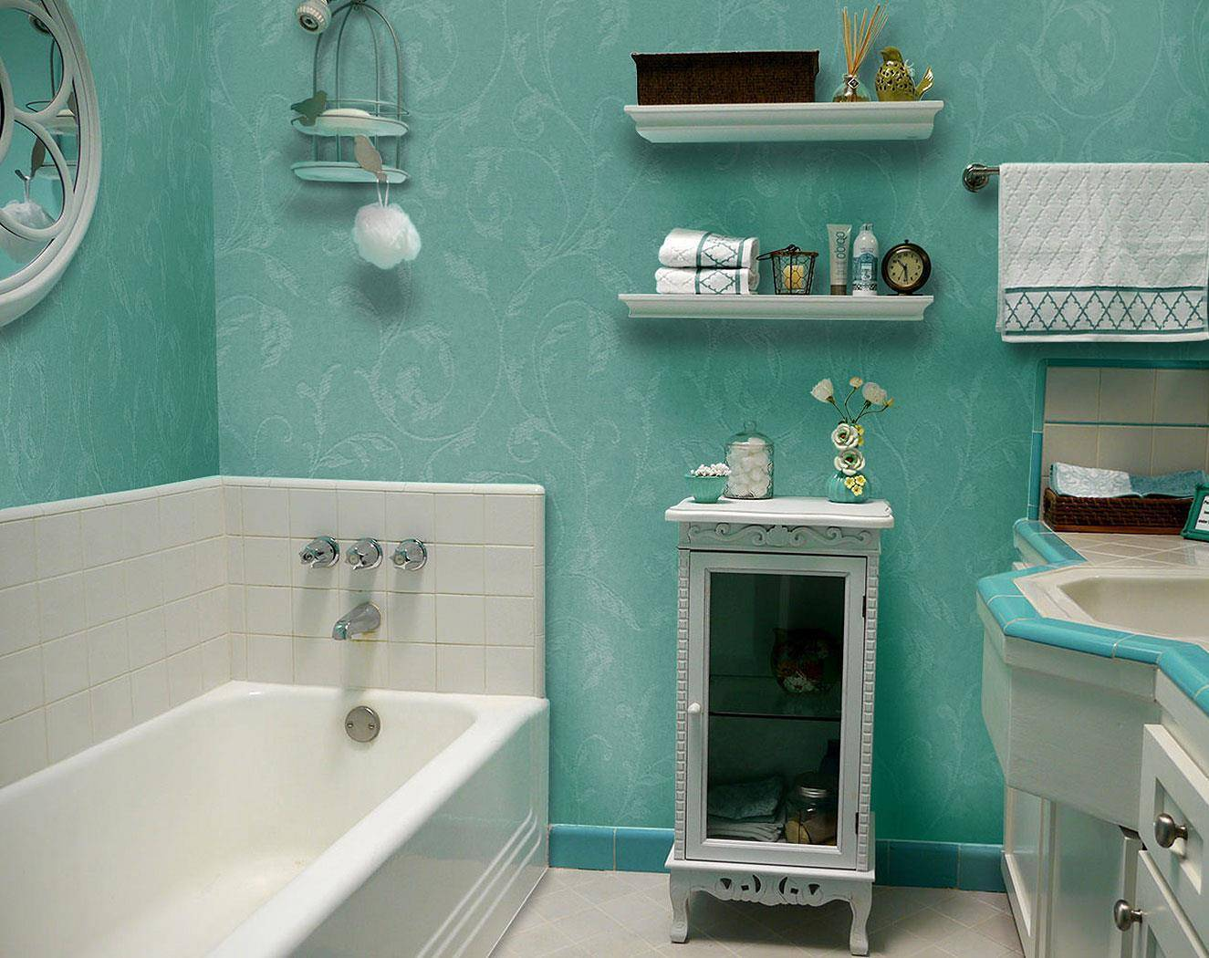 Стеклообои в ванной (50 фото): отзывы об отделке стен комнаты стекловолокнистыми обоями, какие подойдут для ремонта