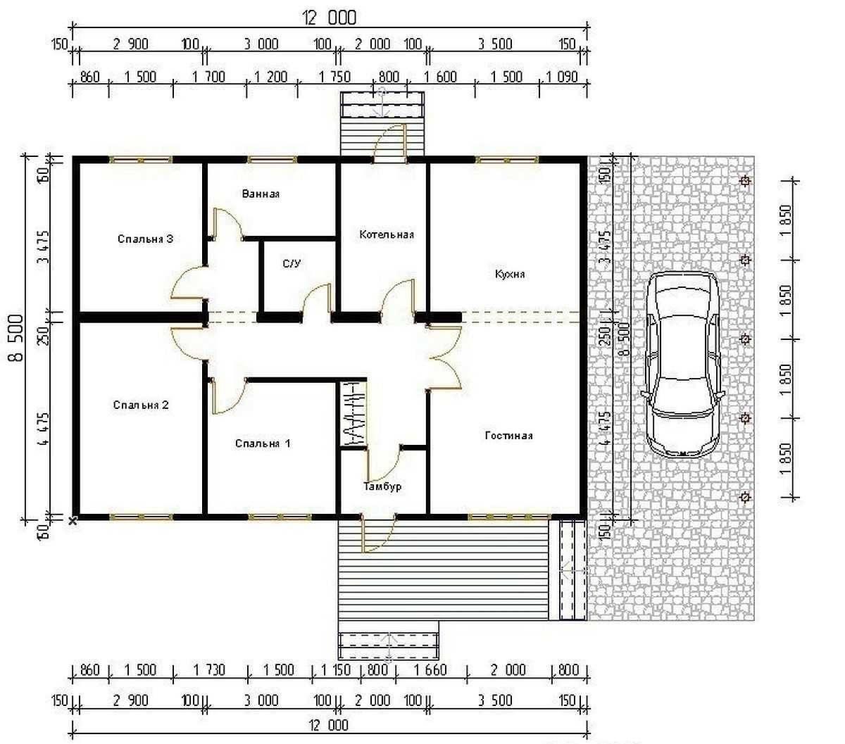 Проекты одноэтажных домов с тремя спальнями: 14 вариантов