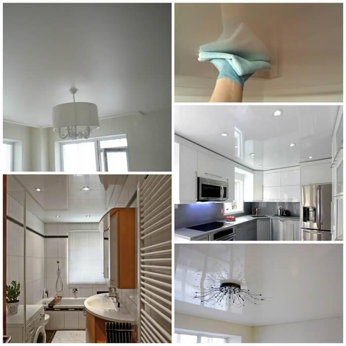 Чем отмыть натяжной потолок на кухне от копоти: можно ли его чистить и как лучше осуществлять уход, как правильно оттереть подвесной