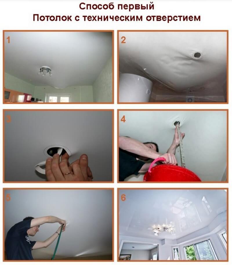 Как отремонтировать натяжной потолок после залива?