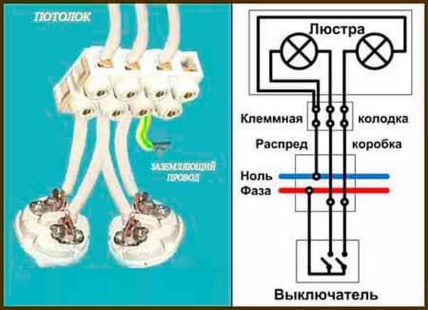 Схемы подключения люстры с  2, 3, 5 лампами. как подключить люстру с тремя проводами | для дома, для семьи