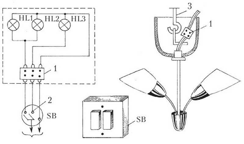 Как подключить люстру к двойному выключателю - схемы и инструкция