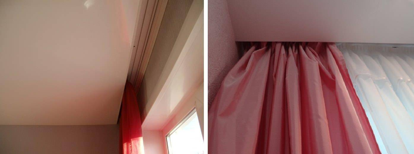 Потолочная гардина под натяжной потолок: фото и цена установки для шторы