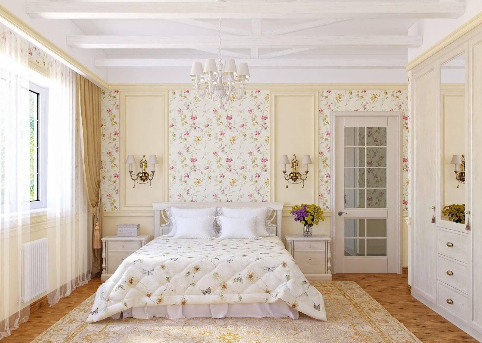 Обои для спальни: выбор, правила комбинирования, фото