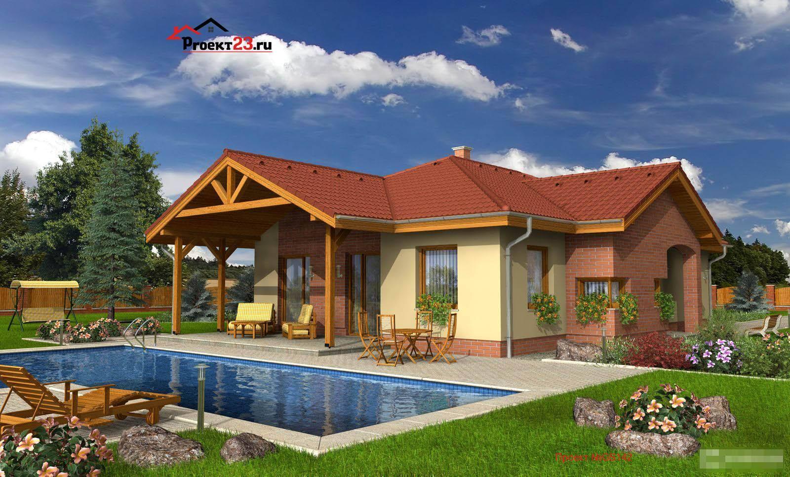 Одноэтажные дома — красивые проекты, варианты дизайна и особенности постройки одноэтажных домов (90 фото)