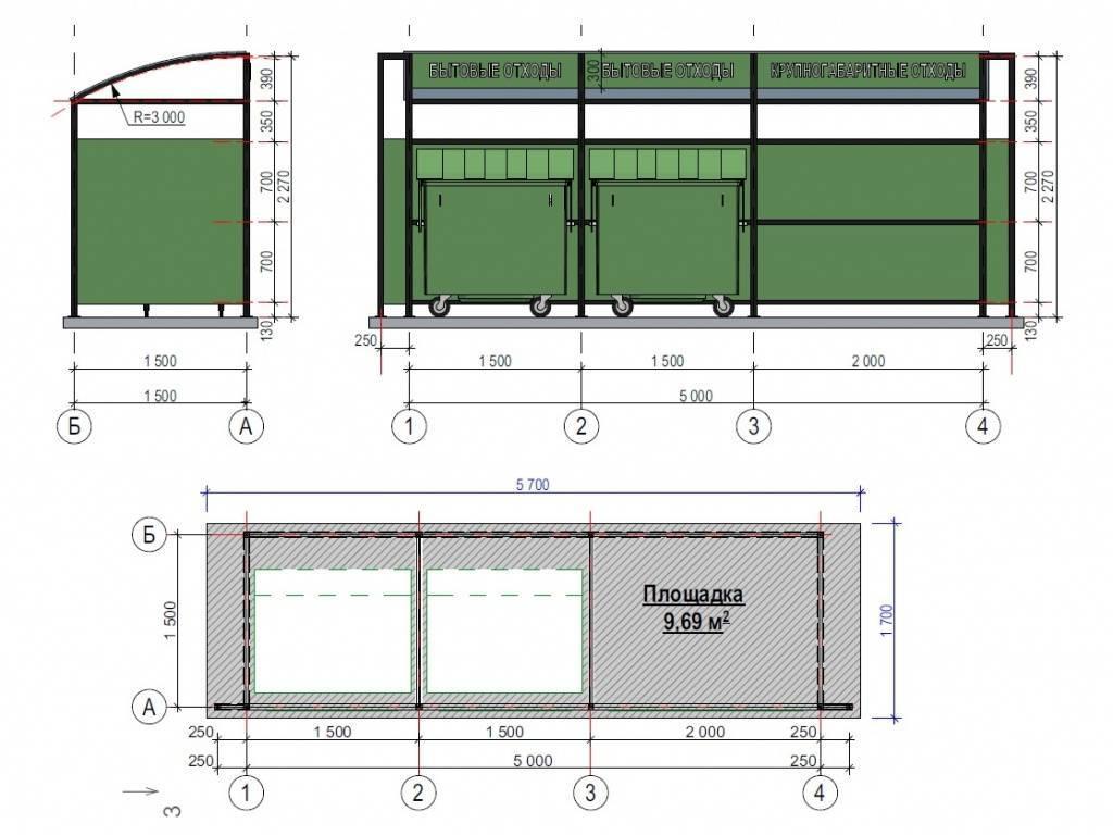 Контейнерная площадка для мусора: размеры и нормы