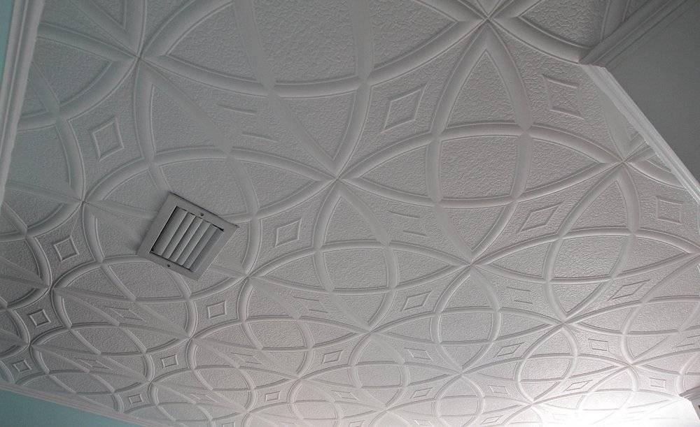 Потолочная плитка из пенополистирола: фото, видео инструкция, как поклеить своими руками
