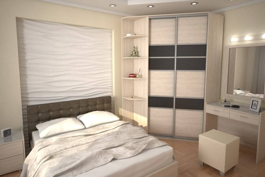Встроенный шкаф купе в спальню, его фото, особенности и правила размещения