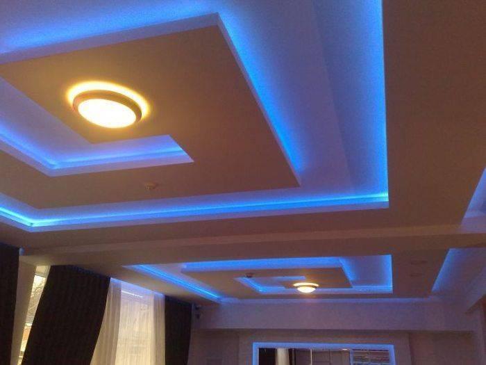 Создание парящего потолка из гипсокартона со световыми линями