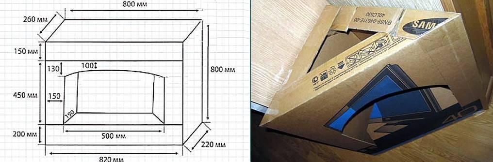 Как сделать камин из коробок своими руками