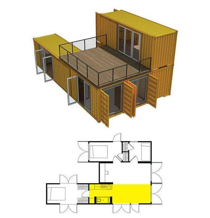 Варианты проектов домов из морских контейнеров с использованием одного и более составляющих | папа мастер!