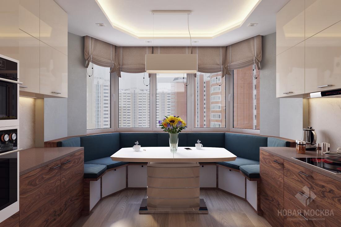 Дизайн кухни п44т с эркером: со спальным местом, варианты оформления рабочей и обеденной зоны, полезные советы, фото.