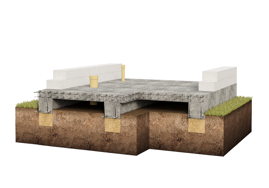 Фундамент плита с ребрами жесткости вниз