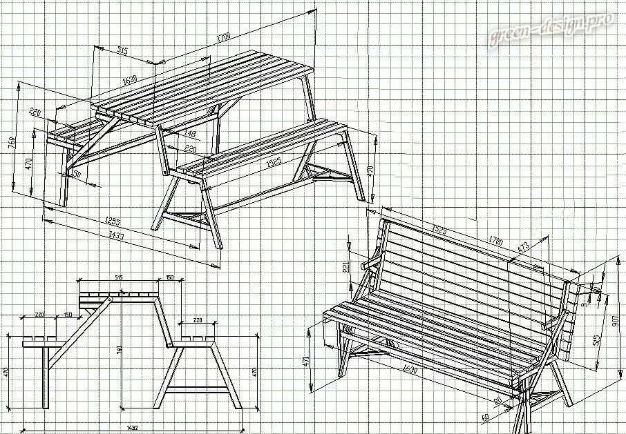 Скамейка своими руками: чертежи фото инструкции по изготовлению