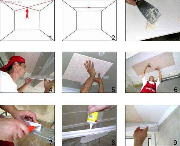 Как клеить потолочную плитку своими руками: советы