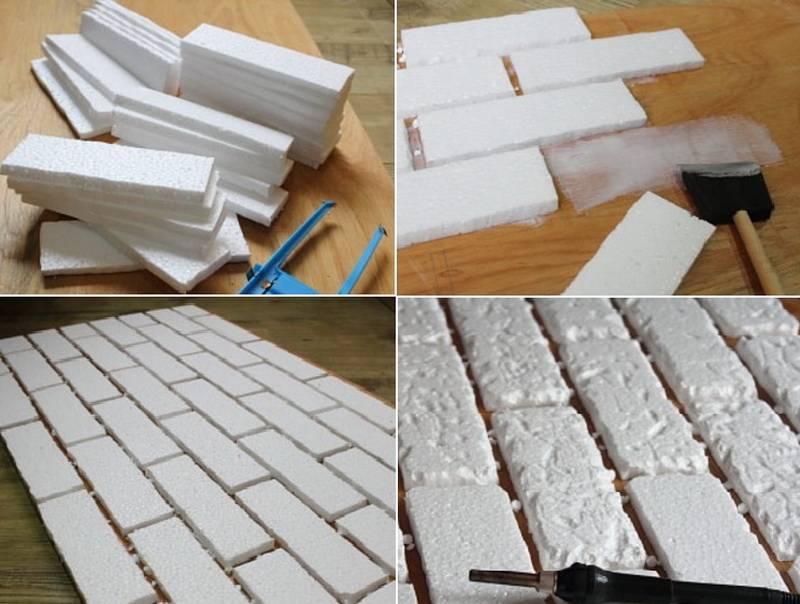 Как сделать декоративный кирпич из пенопласта своими руками?