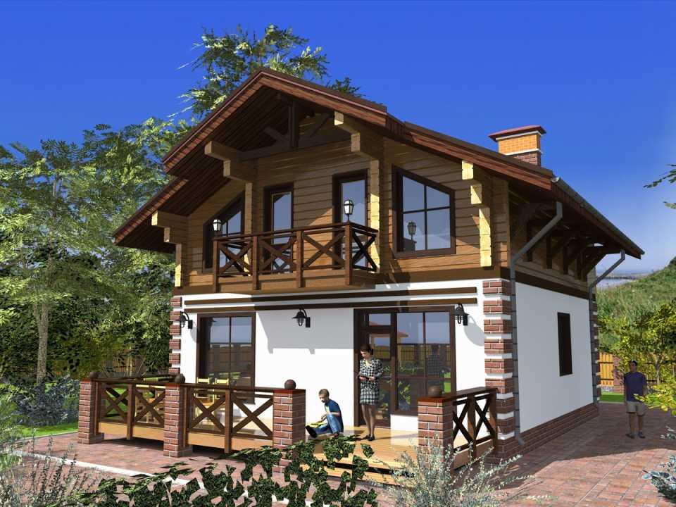 Проекты и интерьер комбинированных и деревянных домов в стиле шале