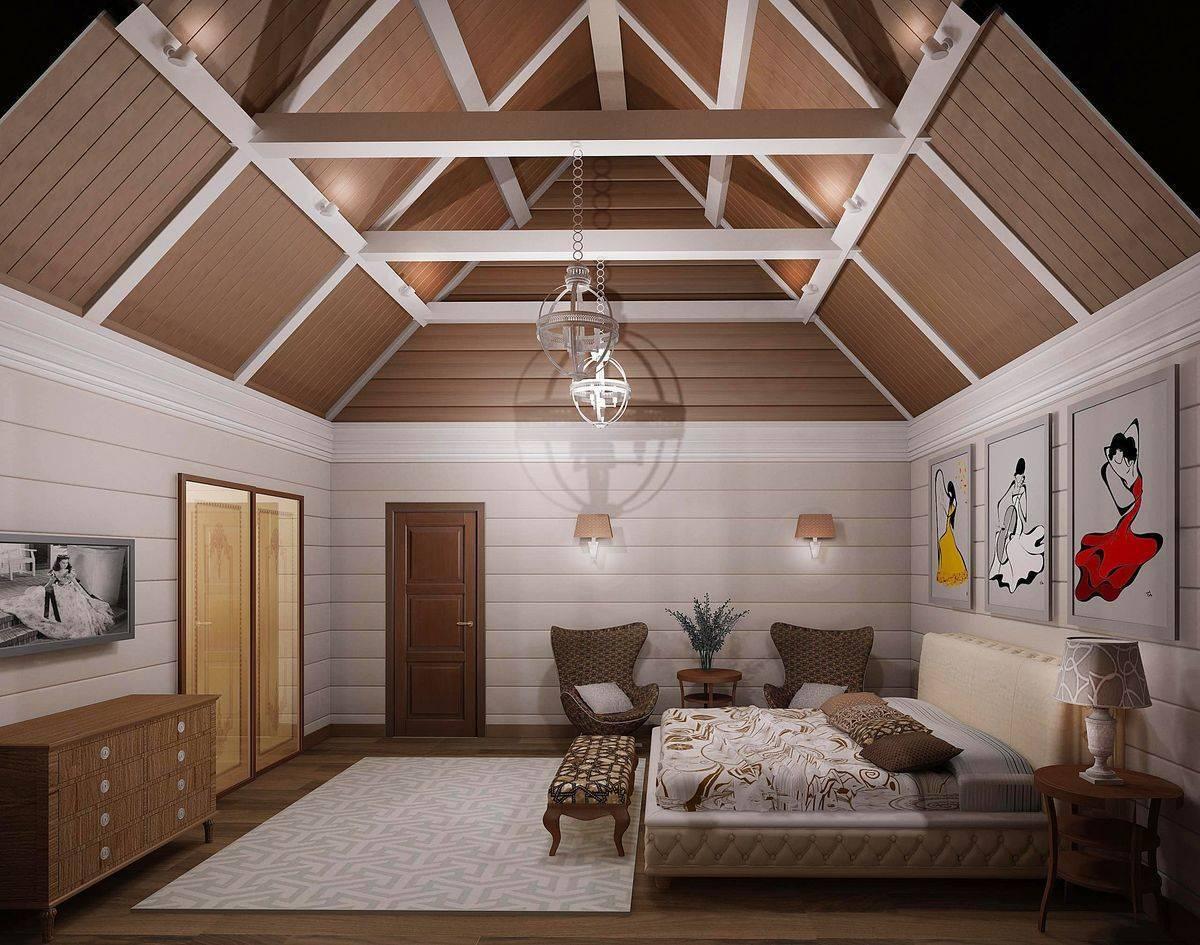 Спальня в мансарде (97 фото): дизайн интерьера комнаты со скошенным потолком на мансардном этаже, варианты отделки маленькой спальни под крышей в частном деревянном доме