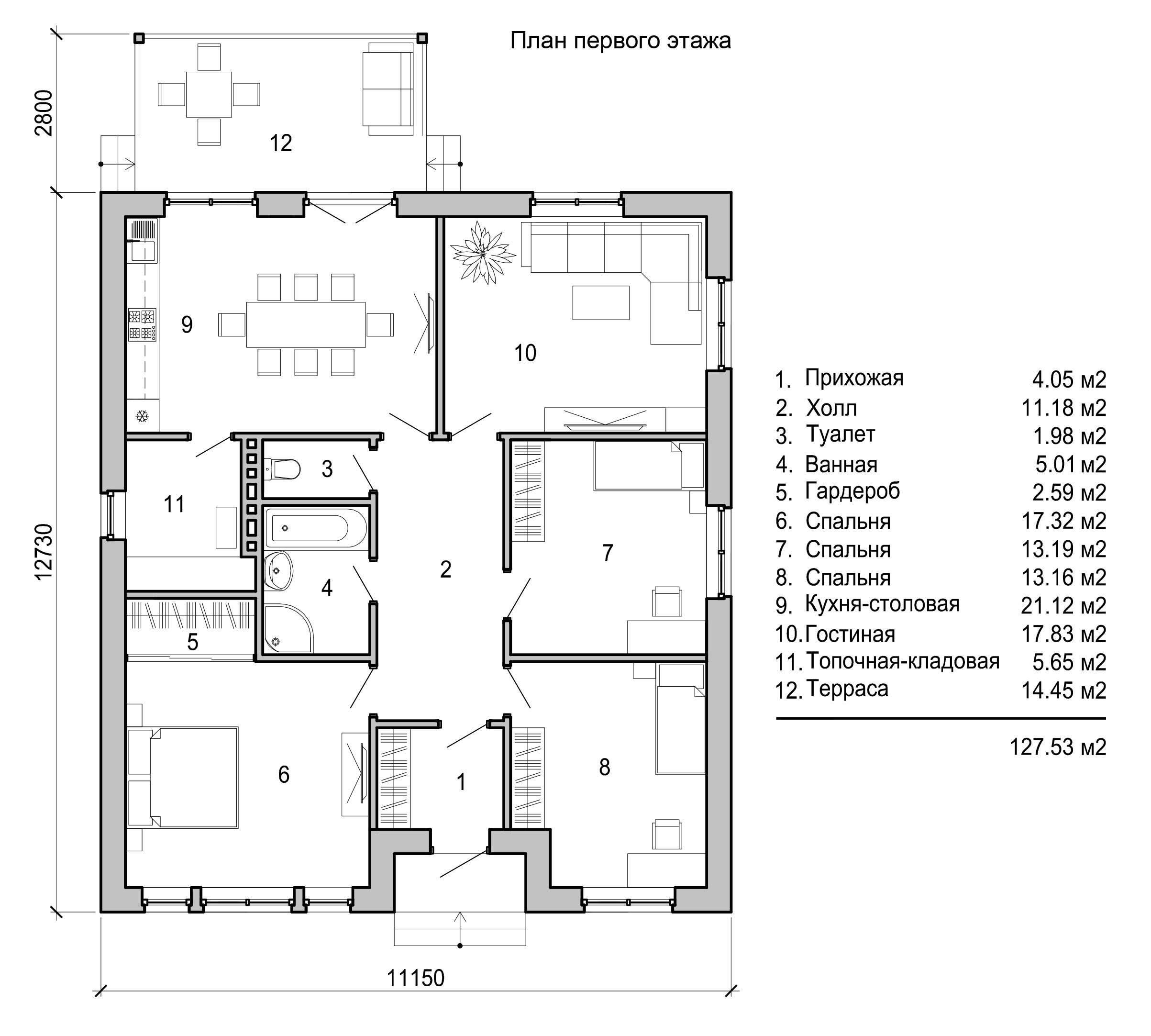 Проекты одноэтажных домов с тремя спальнями. правила создания оптимальной планировки