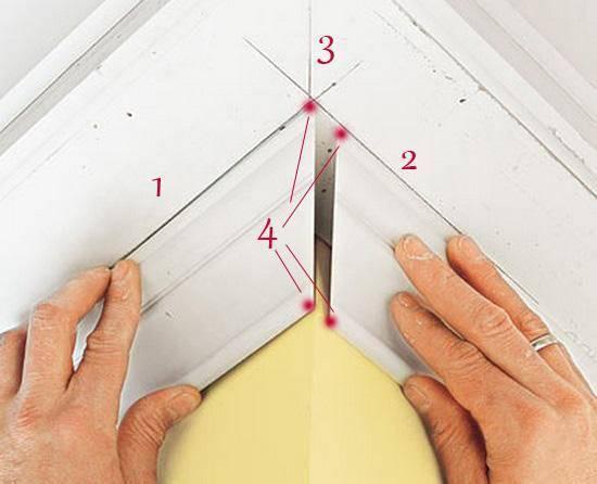 Как сделать внутренний угол потолочного плинтуса?