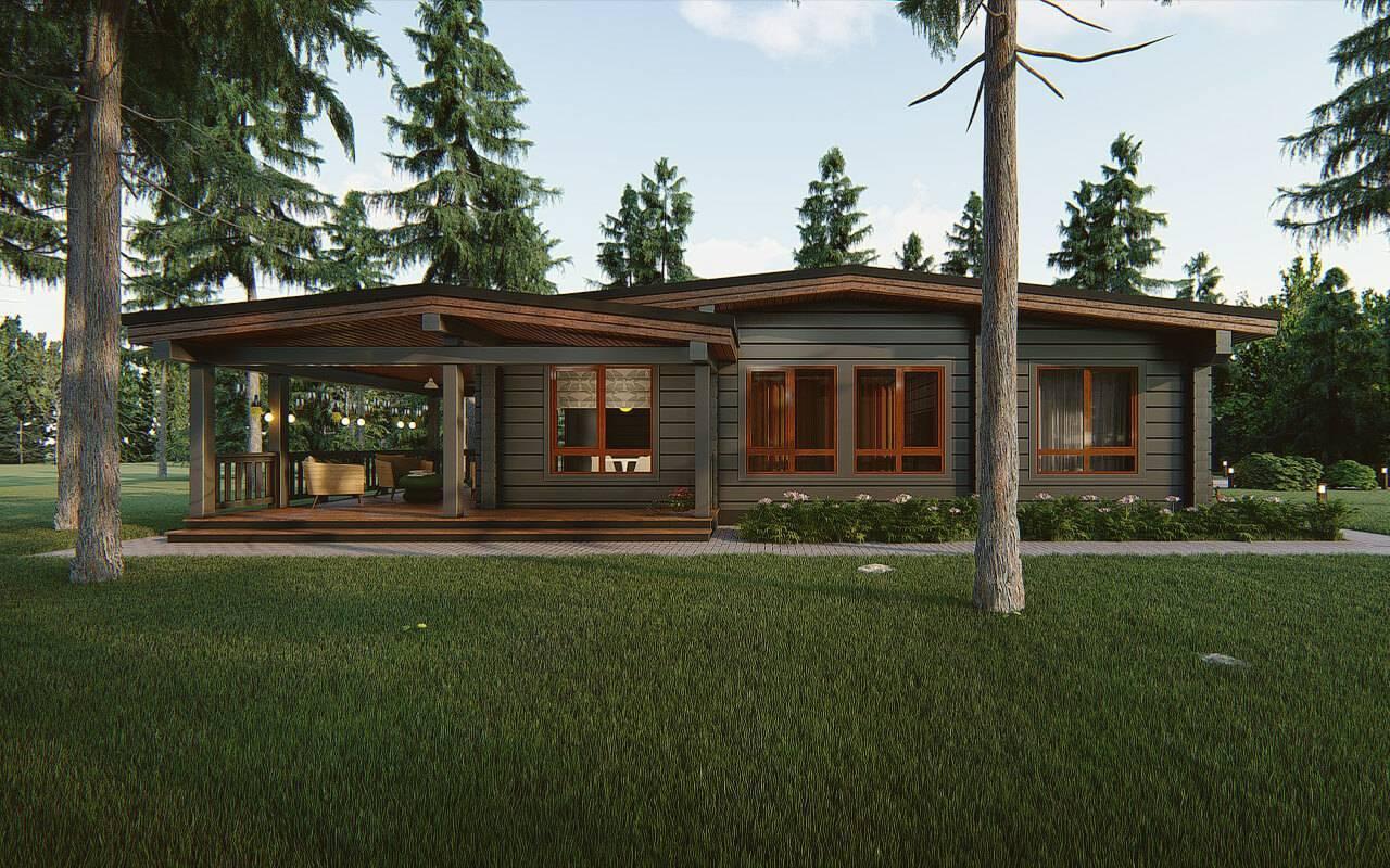 Дома из клееного бруса: одноэтажные проекты и стили коттеджей