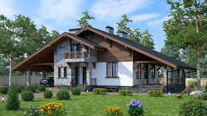 Комбинированные дома в стиле шале проекты