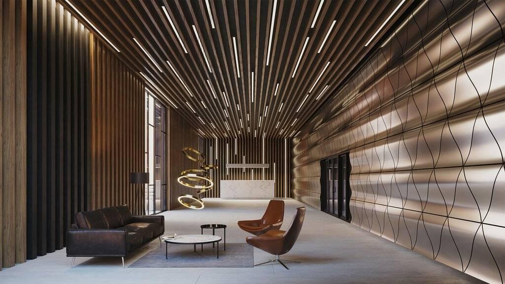 Кубообразный реечный потолок himmel: цена, дизайн для офиса и ламинированный под дерево