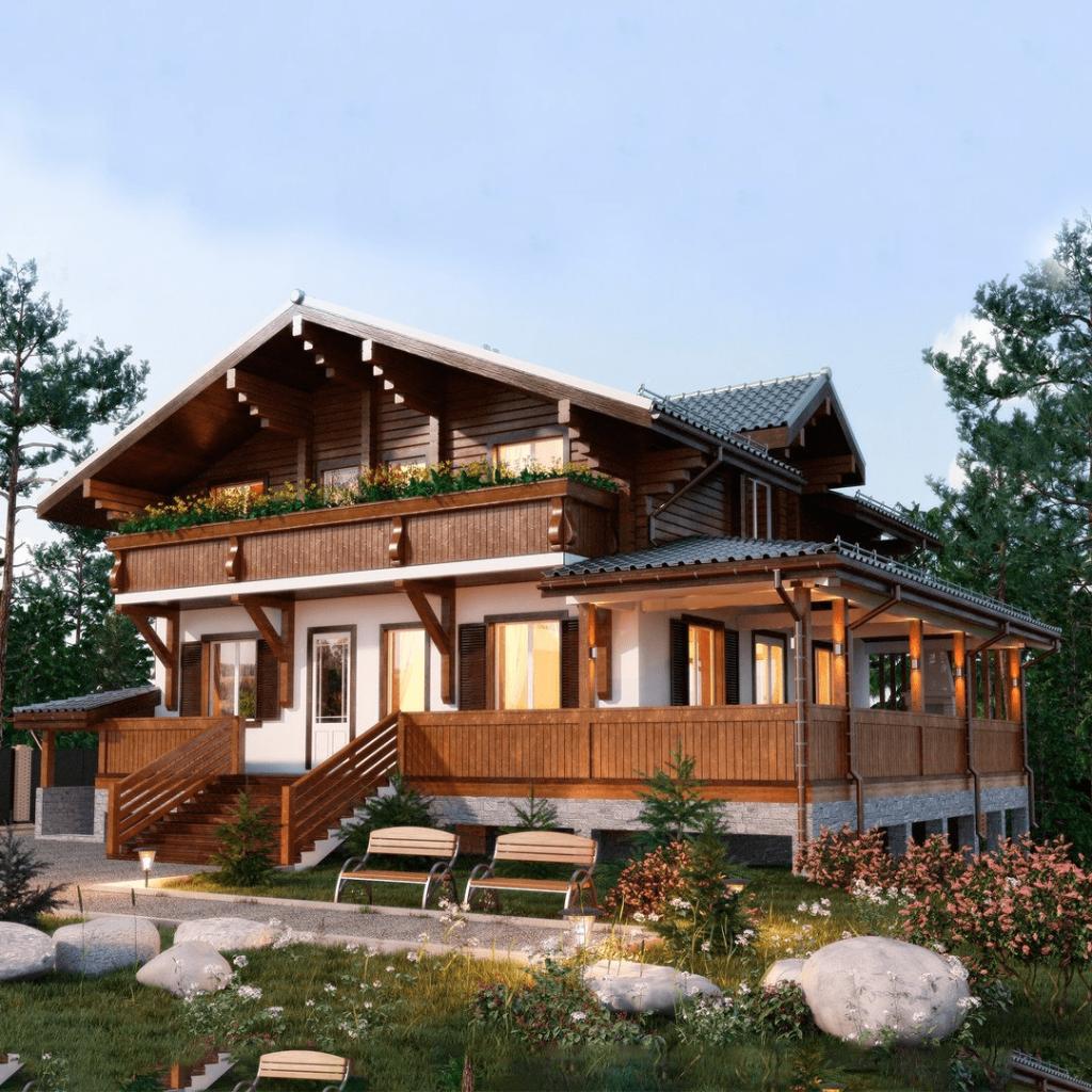 Проекты комбинированных домов в стиле шале (фото)