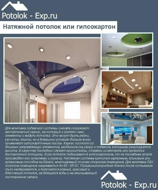 Натяжной или подвесной потолок что лучше выбрать, что дешевле, чем отличаются, разница