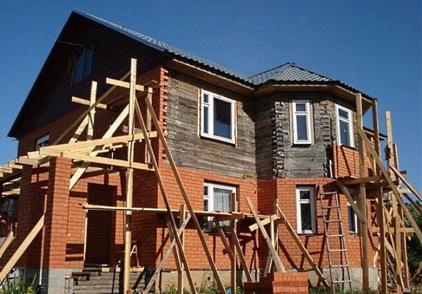 Облицовка дома из бруса кирпичом