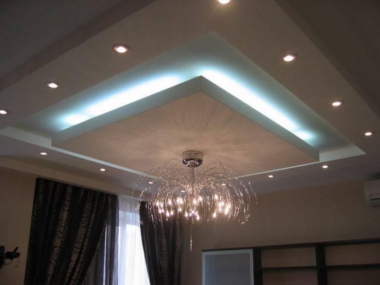 Потолок из гипсокартона с подсветкой светодиодной лентой на двух уровнях своими руками: комбинированная конструкция из натяжного потолка и гипсоскартона