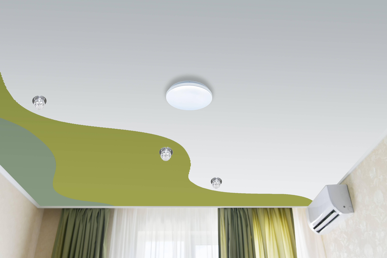 Двухцветные натяжные потолки: креативное дизайнерское решение