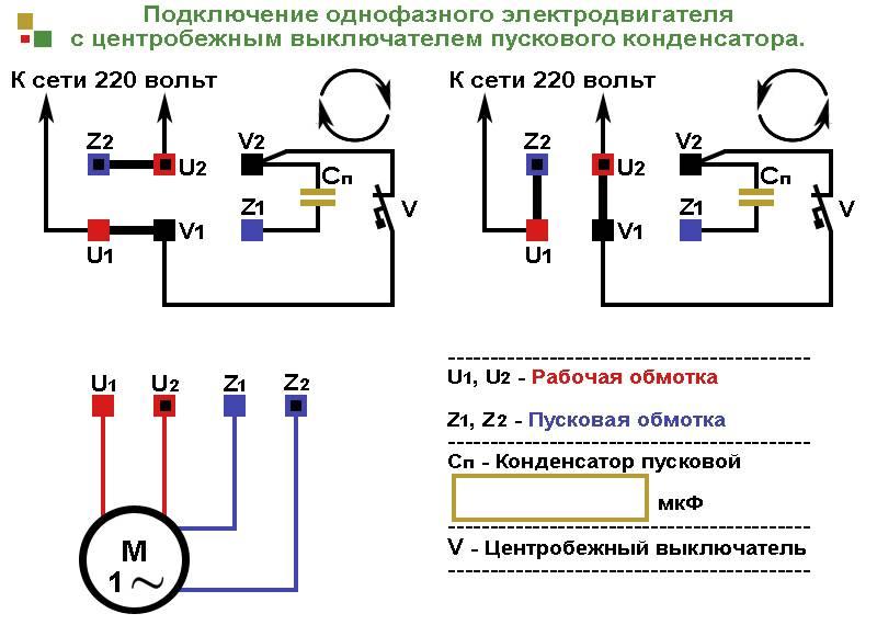 Однофазные электродвигатели 220в: где применяются, схема подключения с конденсатором