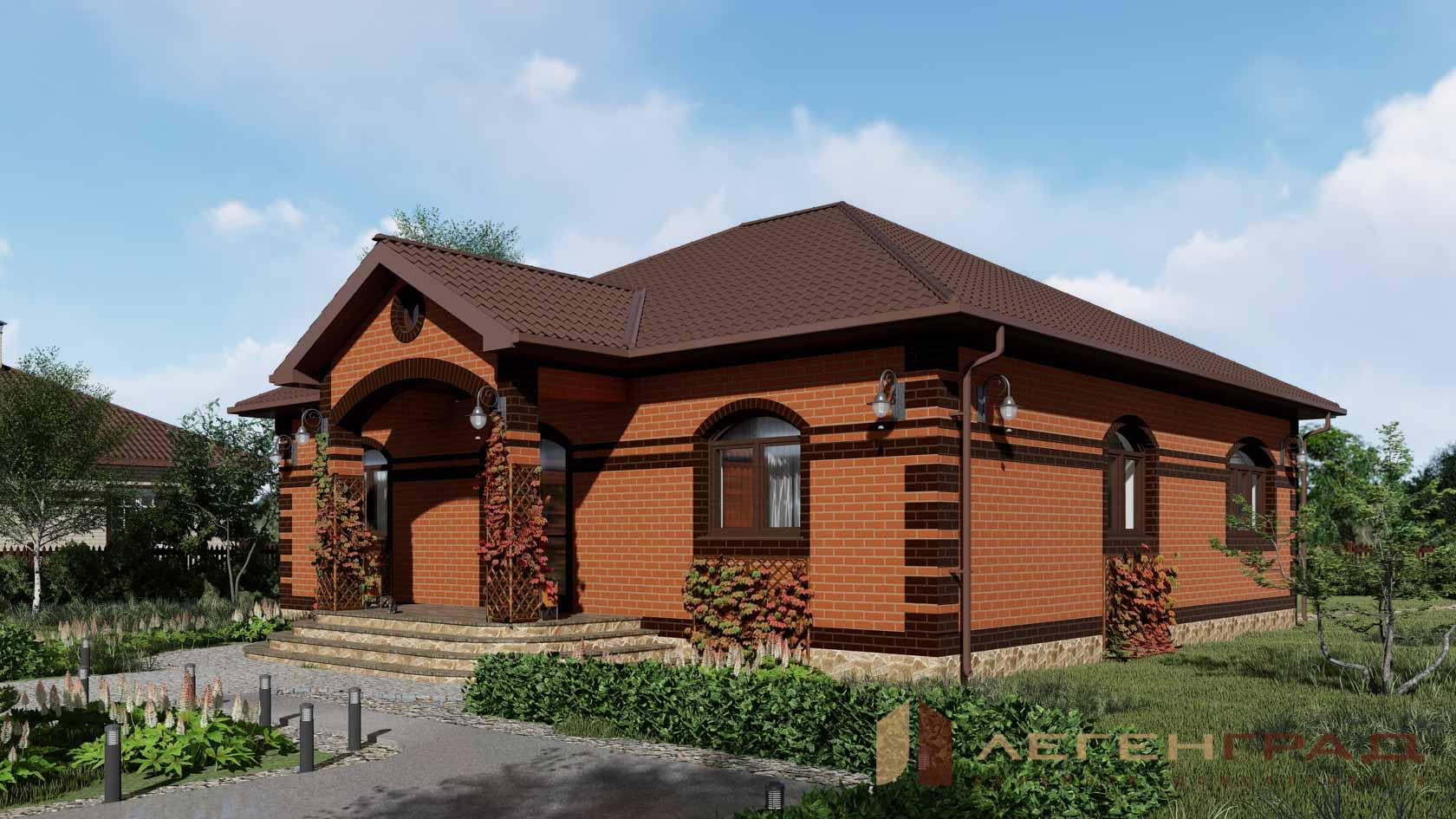 Одноэтажные дома из коричневого кирпича –37 фото