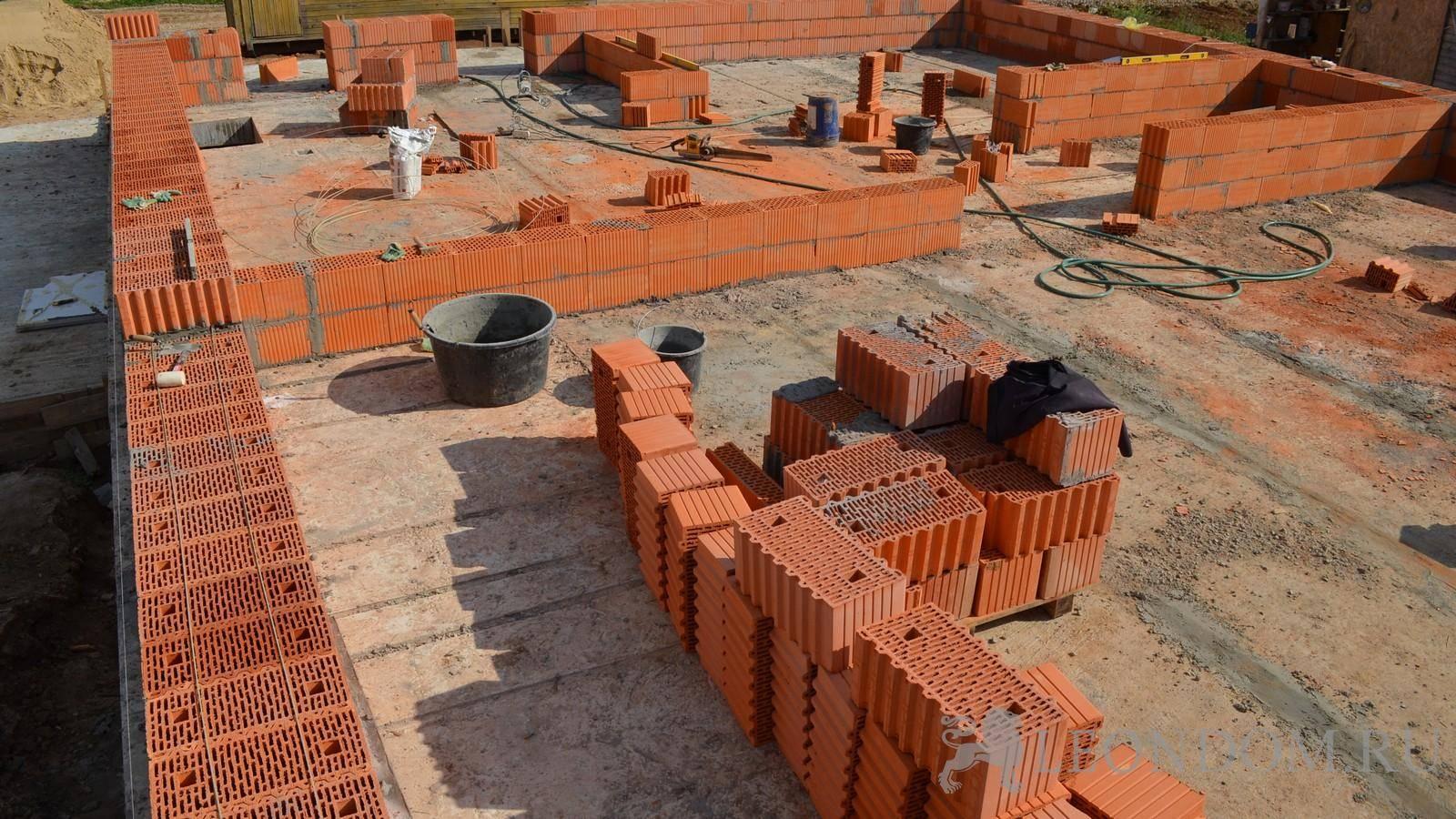Монтаж керамических блоков