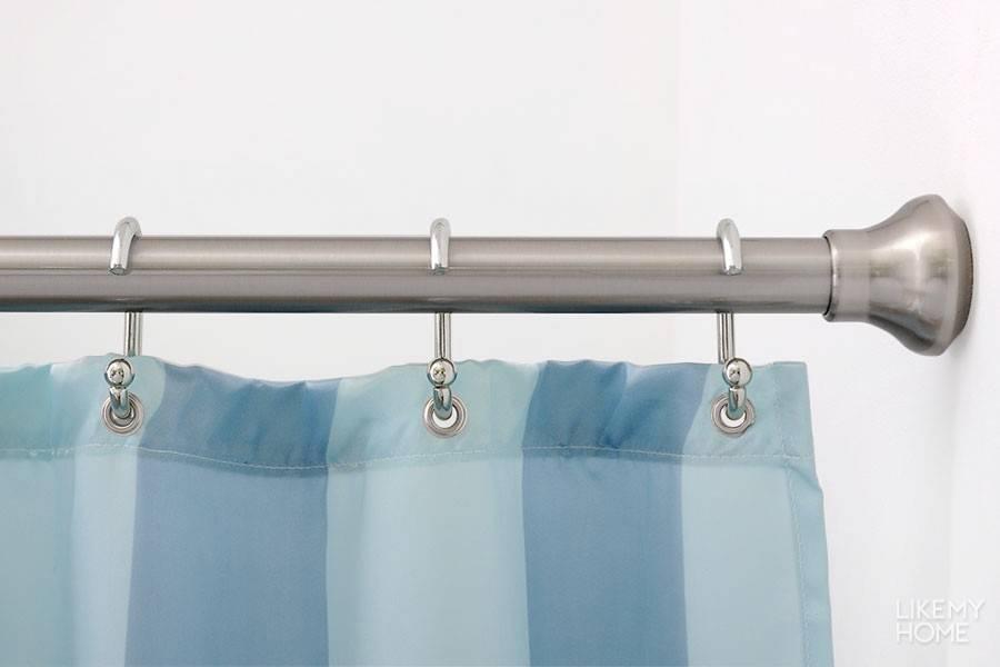 Штанга для шторы в ванную комнату: виды карнизов, советы по выбору карниза для шторки, установка без сверления