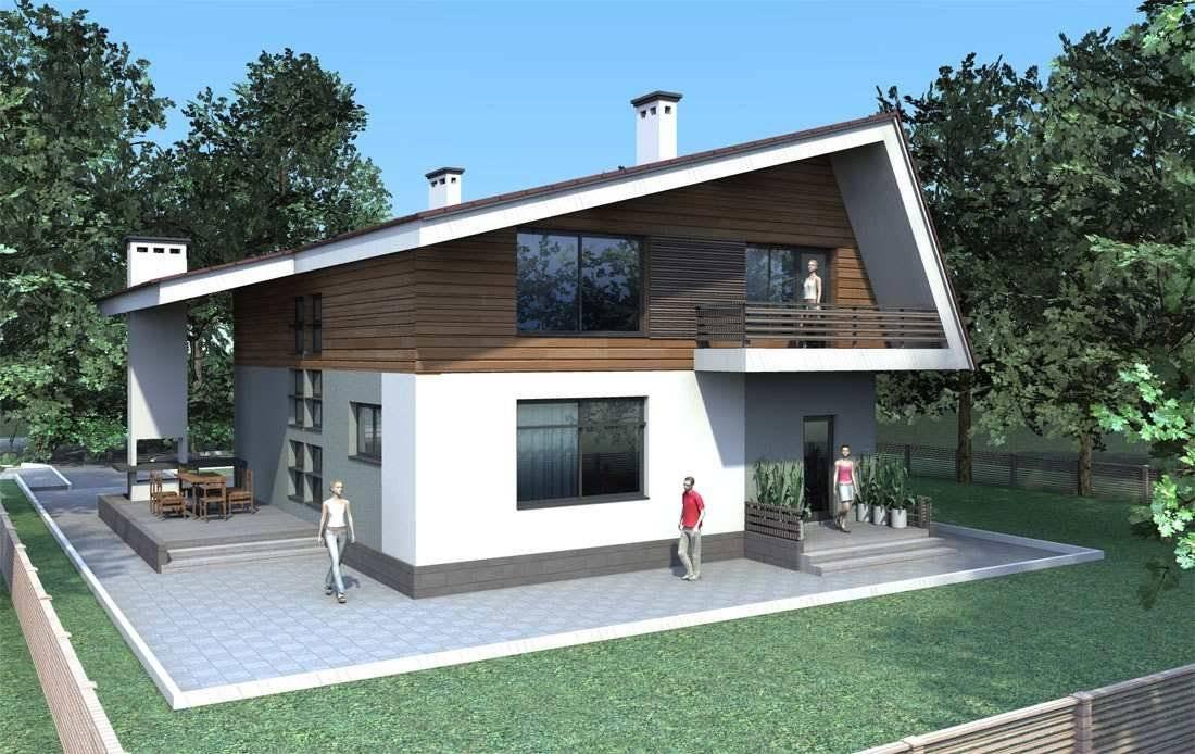 Проект одноэтажного дома хай тек 60