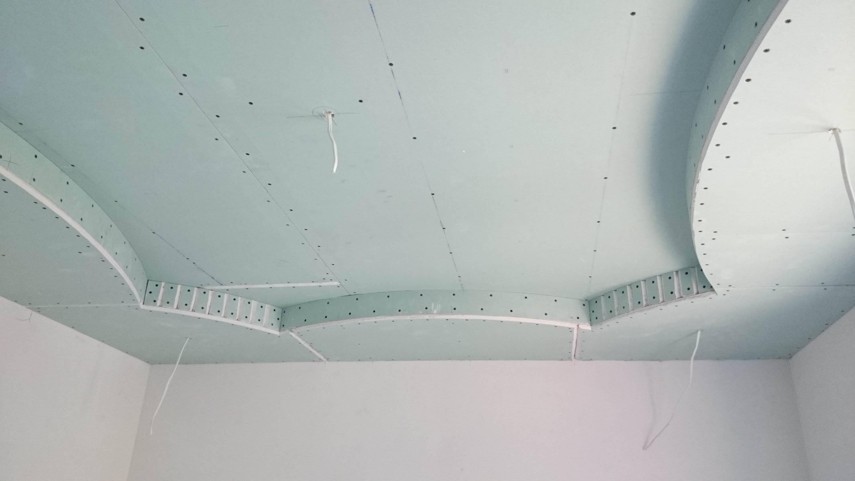 Двухуровневый потолок из гипсокартона с подсветкой по периметру: монтаж
