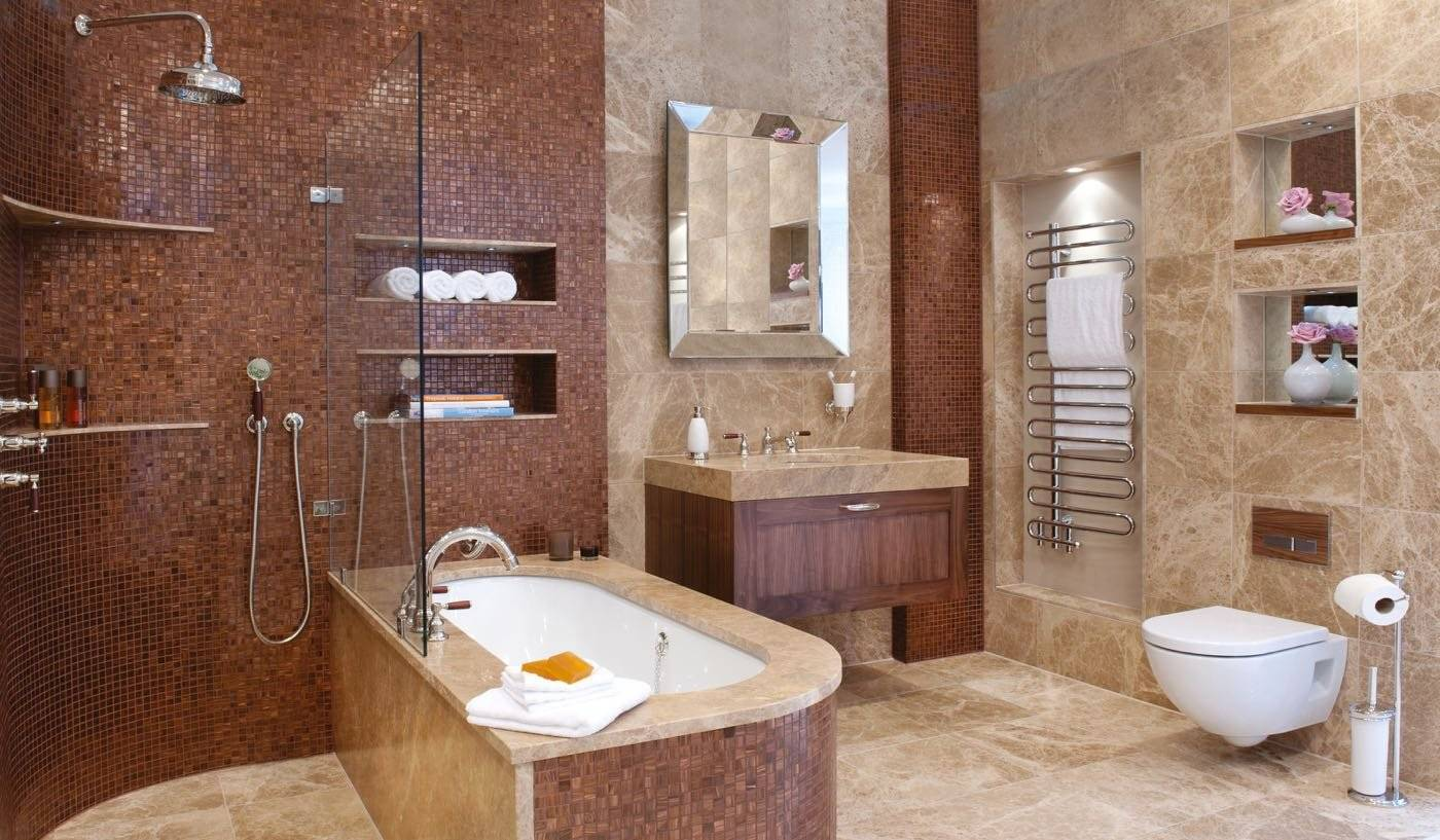 Дизайн укладки плитки в ванной: 75 фото, методы, цвет