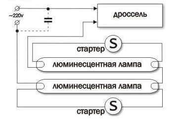 Варианты схем подключения люминесцентной лампы с дросселем и стартером