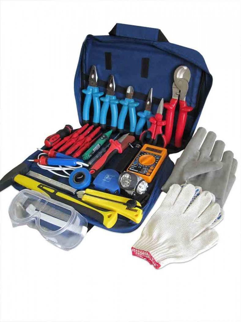 Набор инструментов для электриков - ручной слесарный и электроинструмент