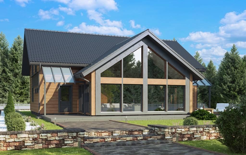 Деревянные дома с панорамными окнами: проекты и фото установки