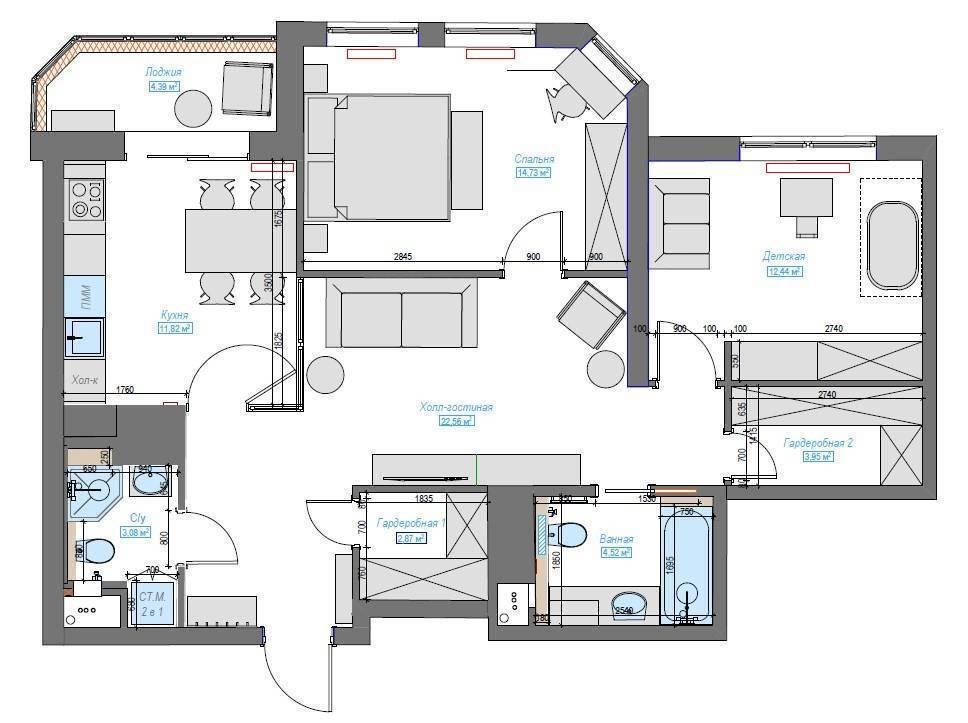 Перепланировка квартиры (184 фото): образец - что можно, а что нельзя, какие требования к блокам для перегородок, идеи дизайн-проектов 2020 для типовых двухкомнатных, 3-комнатных, студий и других